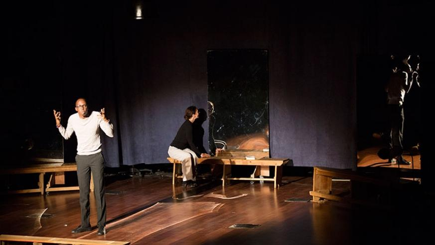 Atome and other actors perform the play about Holocaust. (Courtesy)