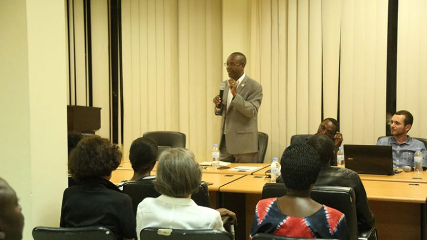 Dr Gasanabo speaks at the function. / Courtesy