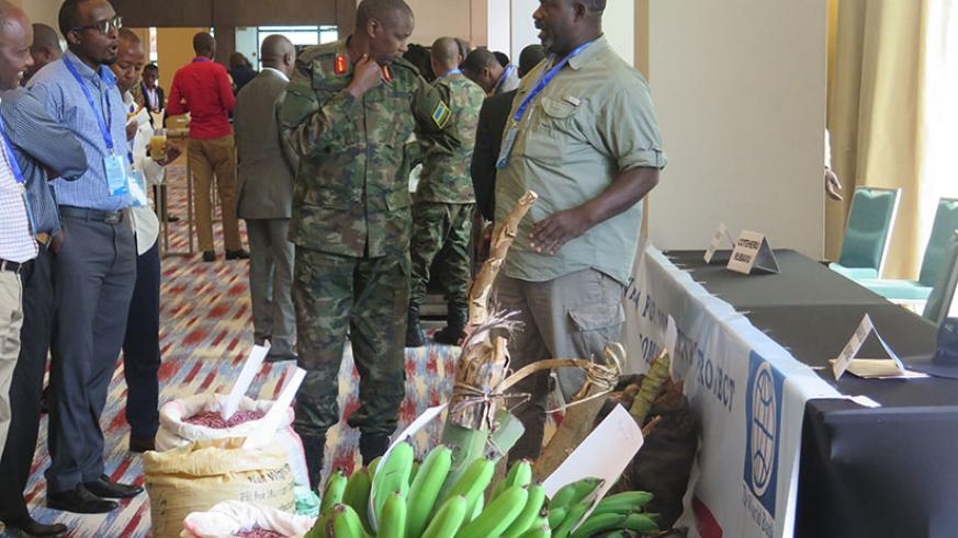 Gashugi (R) chats with other participants during the agricultural exhibition. / Eddie Nsabimana