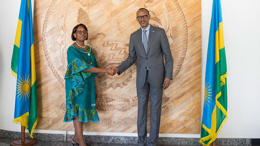 President Kagame meets with Matshidiso Moeti, World Health Organization Regional Director for Africa in Kigali, yesterday. Dr Moeti later told reporters that WHO was impressed by R....