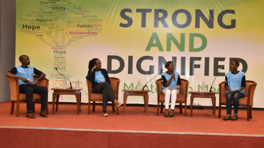 Panelists during the mentorship meet discussed the Legacy of Mentorship: Constantin Rukundo (far left), Country Director of Indego Africa - Rosine Urujeni, Moderator - Florentine H....