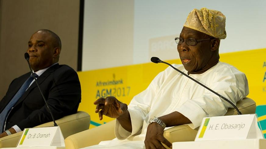 Former Nigerian President Olesegun Obasanjo addresses journalists on the sidelines of the ongoing Afreximbank Annual General Meeting in Kigali yesterday. Timothy Kisambira.