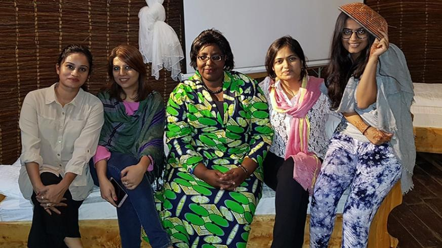 Minister for Disaster Management and Refugee Affairs, Seraphine Mukantabana, met with Neysa Sanghavi and her mother Dr Sejal Sanghavi when she came to Rwanda. Courtesy