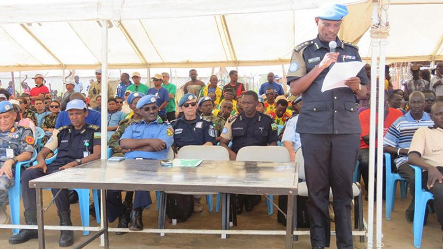 CP Munyambo speaks at the official launch of the football tournament to raise awareness on GBV. / Courtesy