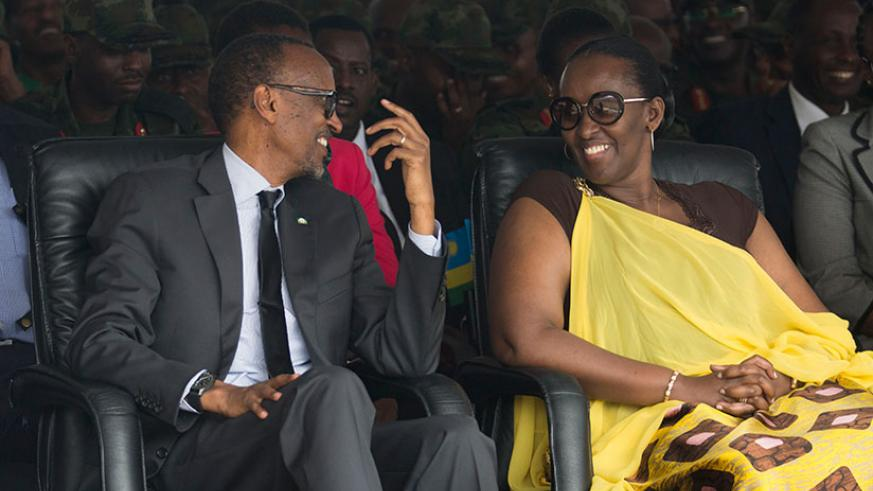 President Kagame and First Lady Jeannette Kagame at the 23rd Liberation Day celebrations in Nyabihu District yesterday. / Village Urugwiro