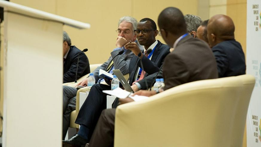 Dr Musafiri speaks during the meeting in Kigali,yesterday. (T. Kisambira)