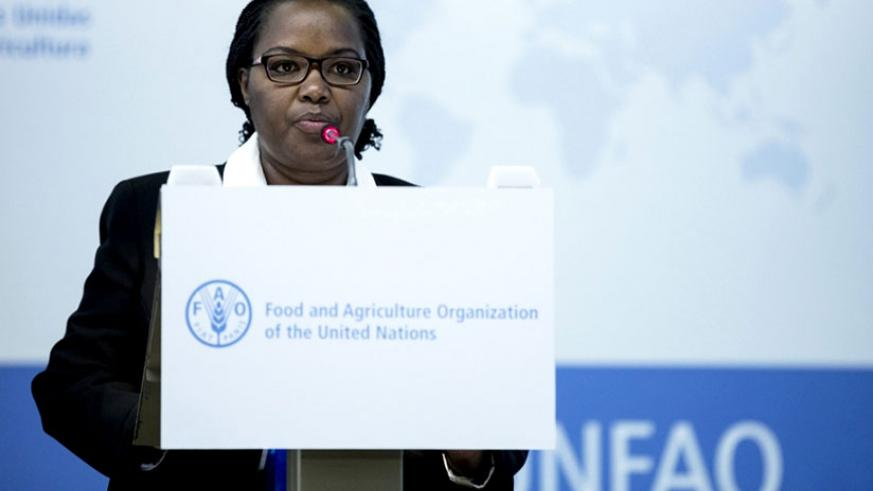 Dr Mukeshimana speaks during the 40th Session of FOA Conference in  Rome. / Courtesy