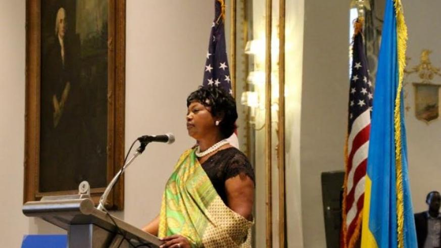 Rwandan Ambassador to the USA makes her remarks during the Liberation Day celebrations. (Courtesy)