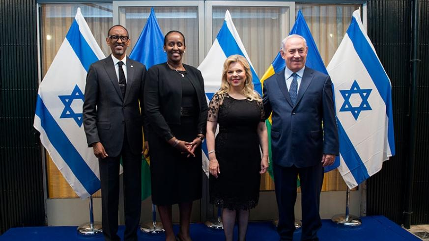 President Kagame and First Lady Mrs Jeannette Kagame are welcomed to Tel Aviv by Israeli Prime Minister Benjamin Netanyahu and Mrs Netanyahu yesterday. The President extended an in....