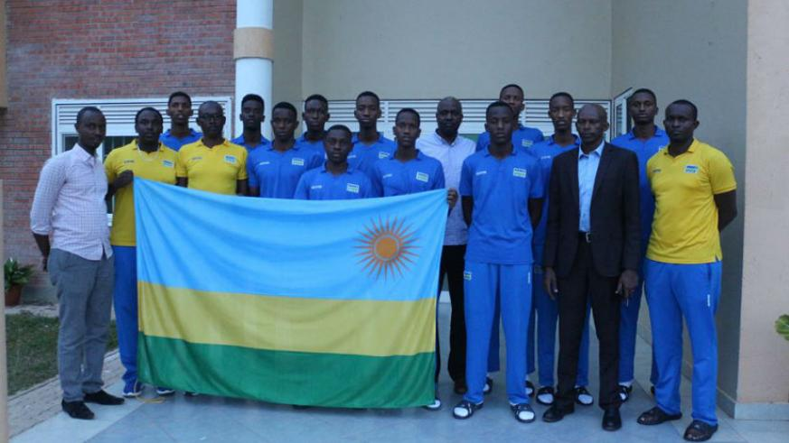 The U-16 boys' team after being flagged off by the Permanent Secretary in Ministry of Sports and Culture, Patrice Rugambwa on Tuesday. / Courtesy