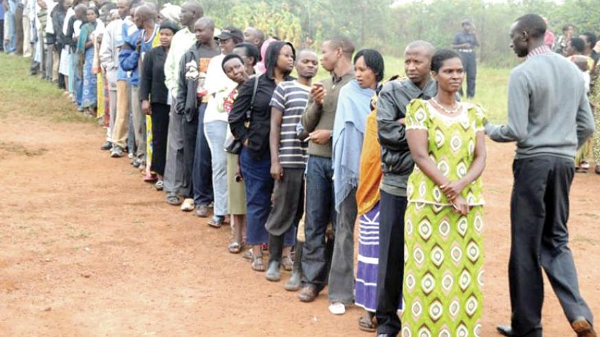 Rwandan voters await to cast their ballot during a past election. Presidential campaigns for the August 4 poll kick off today. File