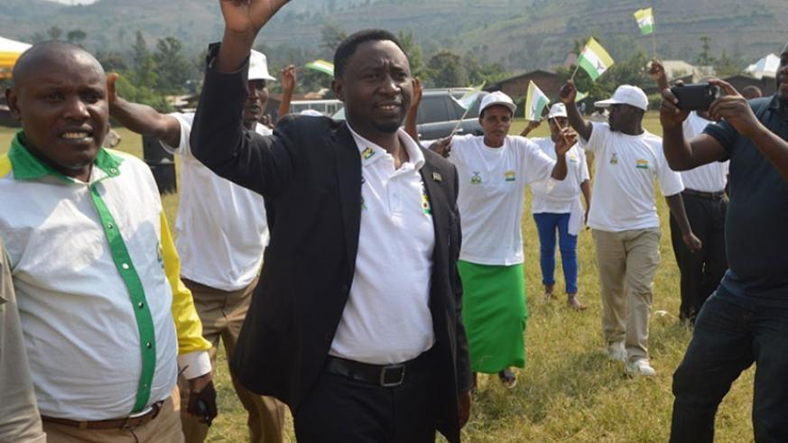 Dr Habineza with supporters at his first campaign in Rusizi. Jean d'Amour Mbonyinshuti.