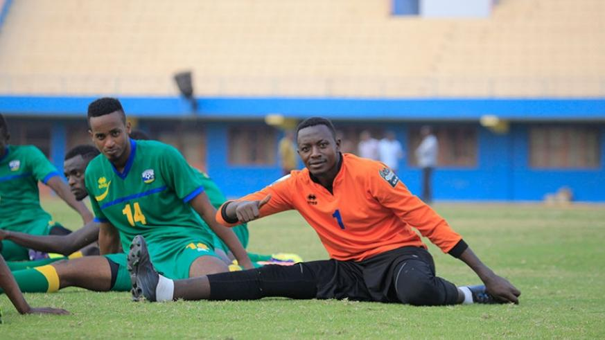Rwanda CHAN team captain and first choice goalkeeper Eric Ndayishimiye gives a thumbs up in training in preparation for today's game against Tanzania. Sam Ngendahimana