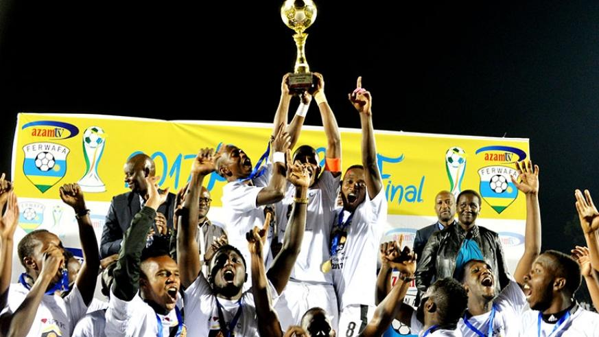 APR FC celebrate after beating Espoir 1-0 in the final to win the 2017 Peace Cup. Courtesy