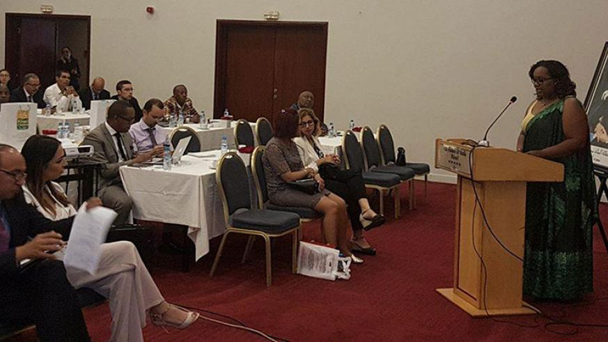 Havugimana addresses Rwanda and Moroccan business leaders in Casablanca during the visit. / Courtesy