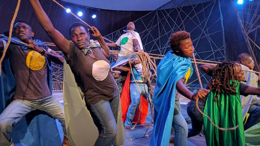 Spot Lite Crew, from Uganda, with their piece, Desolation in Chains. / Courtesy