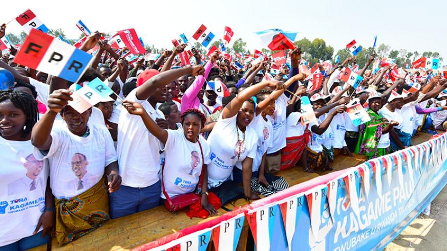 RPF supporters during the campaign rally in Nyamagabe District. / Courtesy
