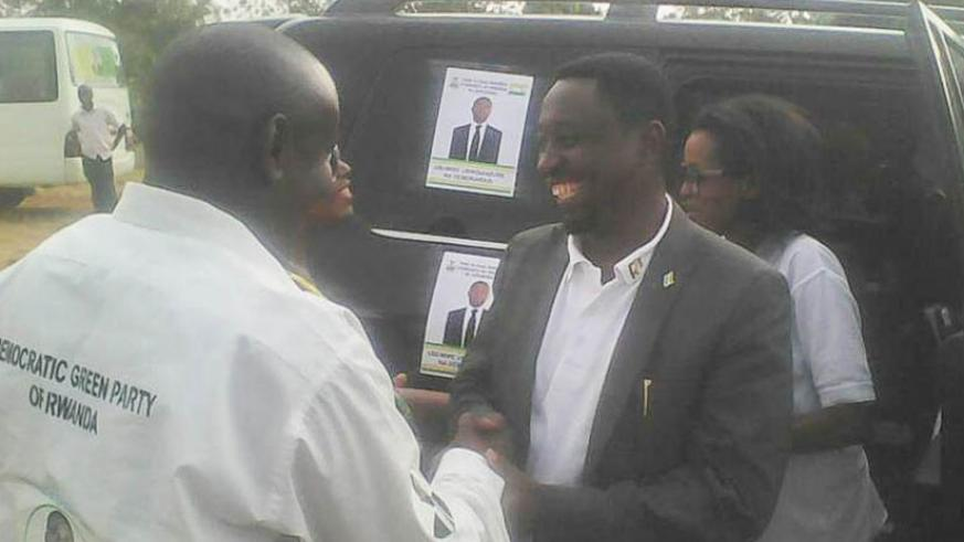 Candidate Habineza being welcomed in Gatsibo District yesterday. Courtesy.