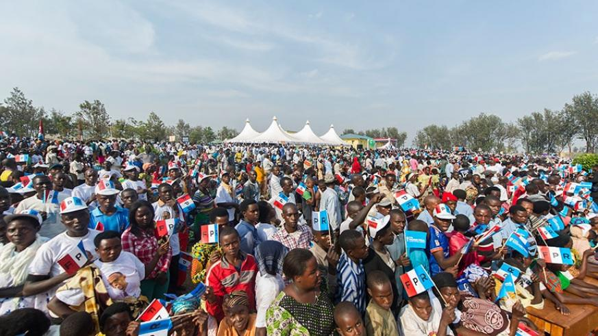 A section of the crowd at the RPF-Inkotanyi's flag-bearer Paul Kagame's rally in Gisagara District on Saturday. Courtesy.
