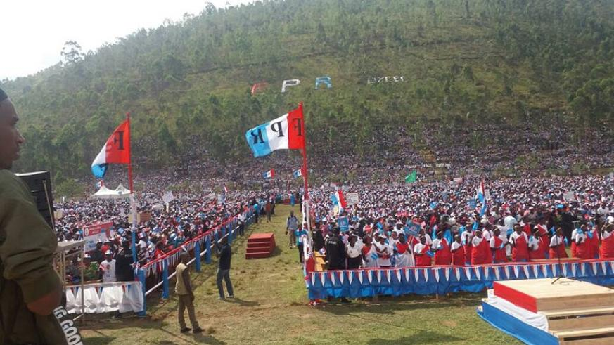 RPF-Inkotanyi candidate Paul Kagame held a rally in Rulindo District that was attended by over 200,000 supporters (Photo by Athan Tashobya)