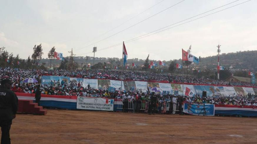 President Paul Kagame Wednesday campaigned in Nyarugenge District in a rally held at Tapis Rouge next to Nyamirambo Stadium.