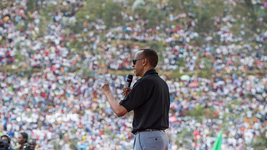 RPF-Inkotanyi's presidential candidate Paul Kagame addresses over 150,000 supporters at the campaign rally in Rulindo District yesterday. Courtesy.