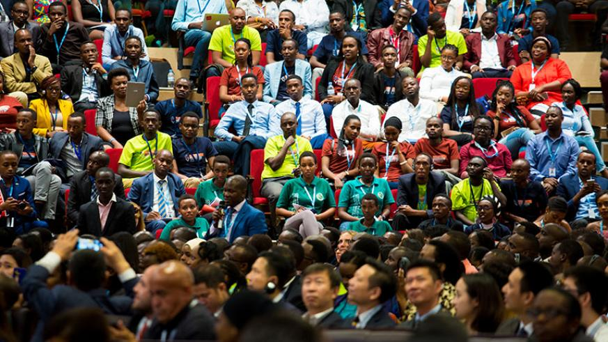 Youth attend the forum at Kigali Convention Centre. / Timothy Kisambira