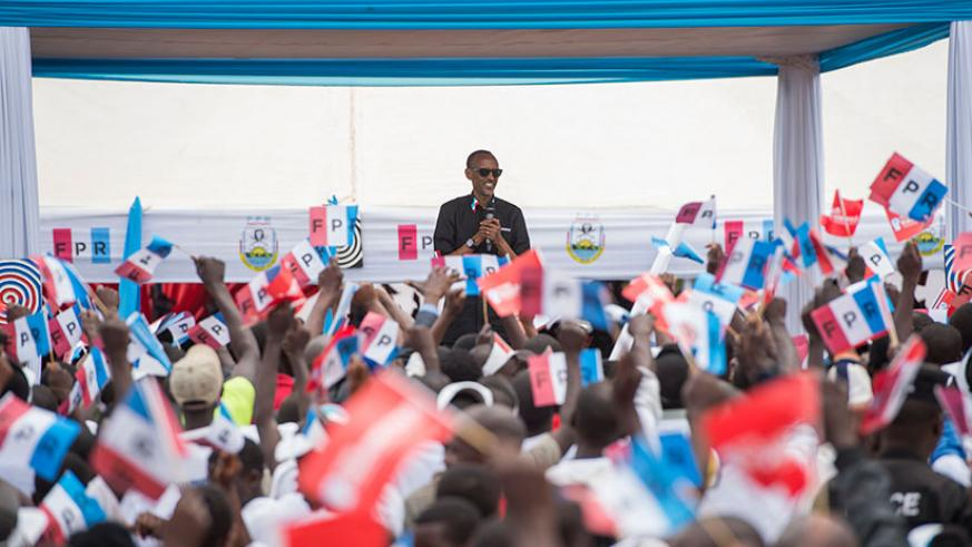 RPF-Inkotanyi flag-bearer, Paul Kagame, addresses thousands of supporters in Gatunda Sector, Nyagatare District in the first of four rallies he held in Nyagatare, Gatsibo and Kayon....