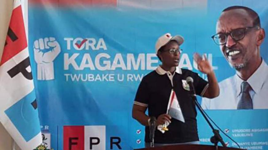 Rwanda's Ambassador to Ethiopia, Hope Tumukunde addresses participants during the event that rallied support for President Paul Kagame, the RPF flag bearer in the forthcoming presi....