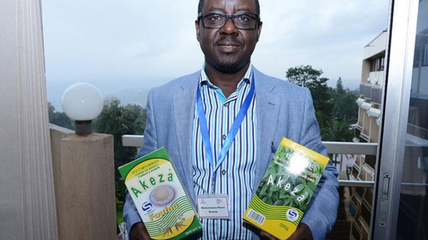 Pierre Damien Mbatezimana, the managing director of Shekina Enterprises, makers of flavoured powdered isombe Akeza. The firm exports the product to the US and other markets. Develo....