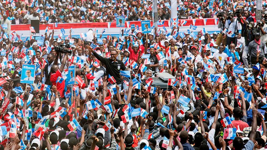 RPF-Inkotanyi presidential candidate Paul Kagame arrives for a rally in Musanze District where he addressed more than 100,000 supporters yesterday. Courtesy.