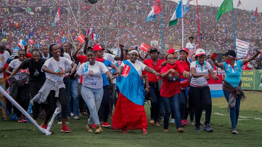 People chant and dance at RPF-Inkotanyi's presidential candidate Paul Kagame's rally in Rubavu District on Wednesday. Courtesy.