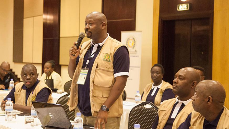 One of the observers makes an intervention during the official launch of the EAC Observer Mission, yesterday. / Nadege Imbabazi