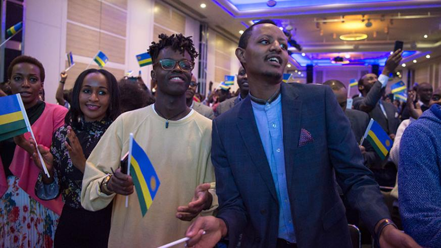 Members of the Rwandan community in London during their meeting with President Kagame in March, this year. Over 40,000 Rwandans in the Diaspora will cast their vote on August 3. / Courtesy
