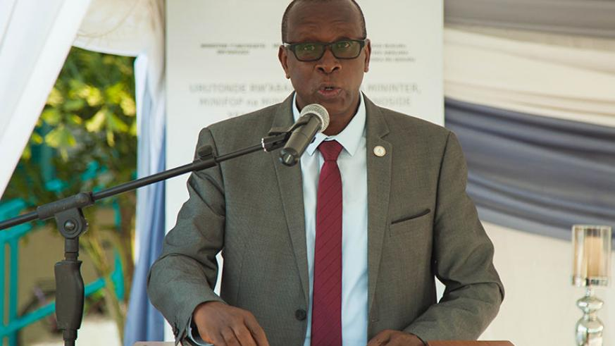 Dr Jean-Damascene Bizimana, executive secretary of CNLG, speaks during the commemoration event at the ministry of local government. / Nadege Imbabazi