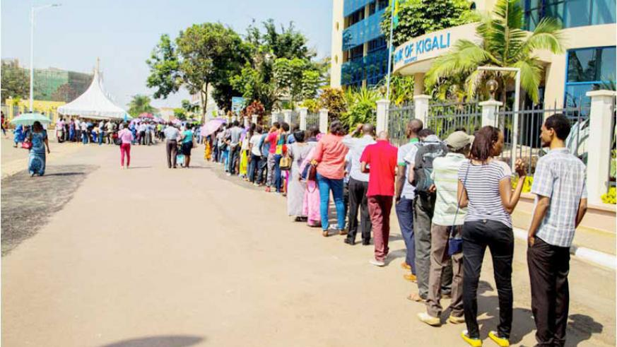 People line up for vaccination during the recently concluded campaign on hepatits B. Adults should be vaccinated just like children to prevent certain diseases. / Lydia Atieno