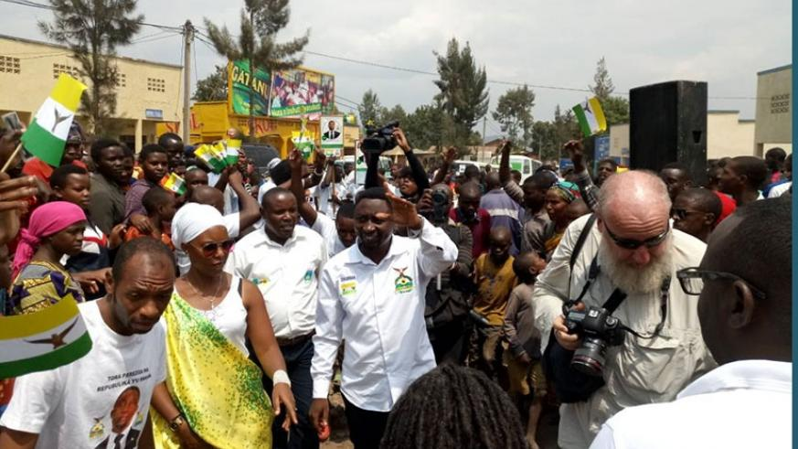 Habineza  arrives in Burera District for his campaign rally. Jean d'Amour Mbonyinshuti.