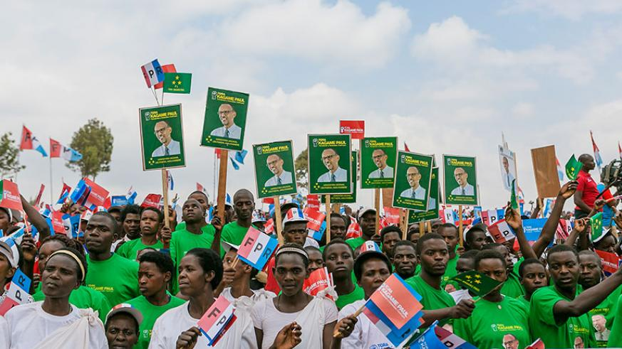 A cross-section of supporters at RPF-Inkotanyi's candidate Kagame's rally in Gicumbi on Tuesday. Courtesy.