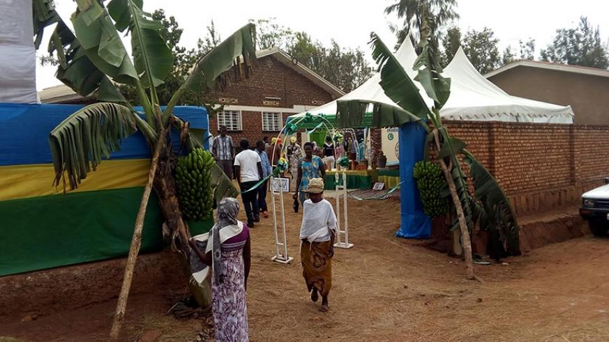 A polling station at Lycee Islamique de Rwamagana decorated in agricultural productivty theme. Steven Muvunyi.