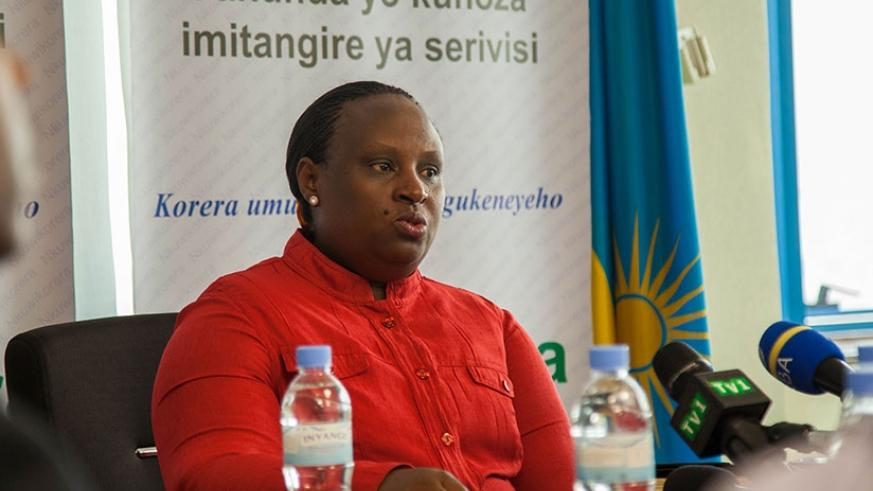 Dr Kayitesi speaks during the news conference in Kigali yesterday. Nadege K. Imbabazi.