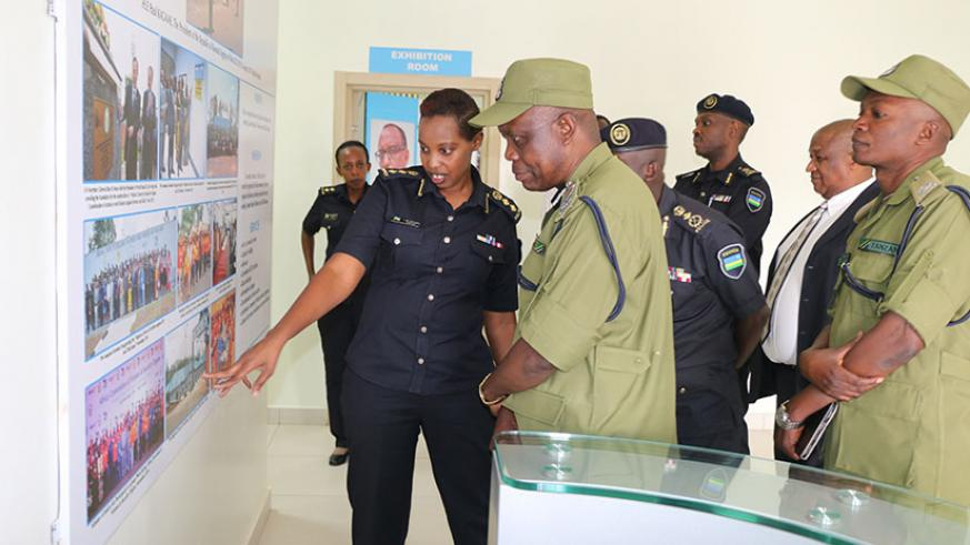 Chief Supt. Lynder Nkuranga (L), the executive director of the Regional Centre of Excellence on Gender-Based Violence and Child Abuse situated at Rwanda National Police, explains t....
