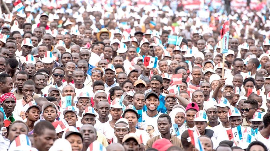 RPF supporters during President Kagame's final campaign rally, on August 2, in Gasabo District. File