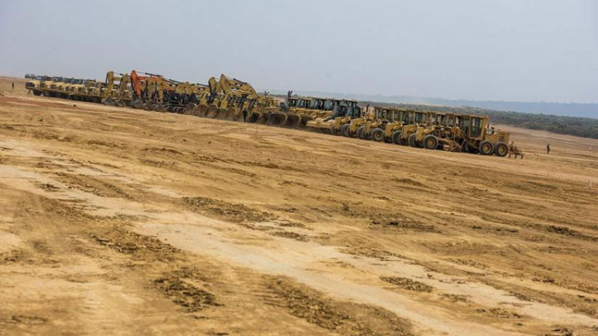 Earthmoving equipment at the site. Thousands of jobs are set to be created as a result of the construction works at the proposed airport in Bugesera, south of Kigali. Courtesy.