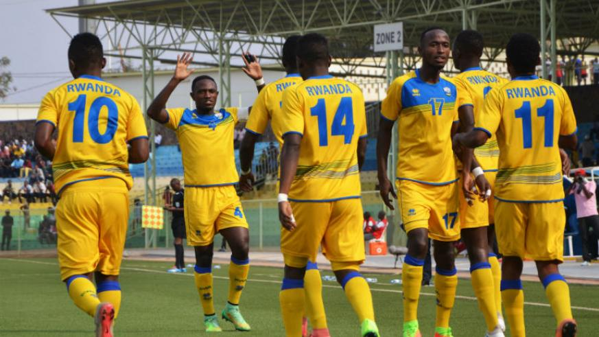 Amavubi players celebrate a goal. The team has moved up by 8 places from 127th to 119th in the latest FIFA world rankings. / Sam Ngendahimana