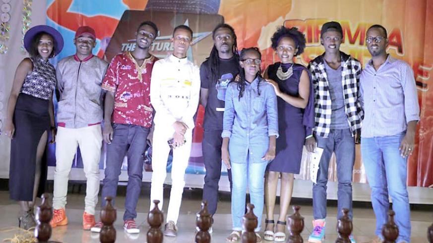 Future Records boss David Tuyishimire (in a black t-shirt), with some of the 'I am the Future' contestants. Courtesy.