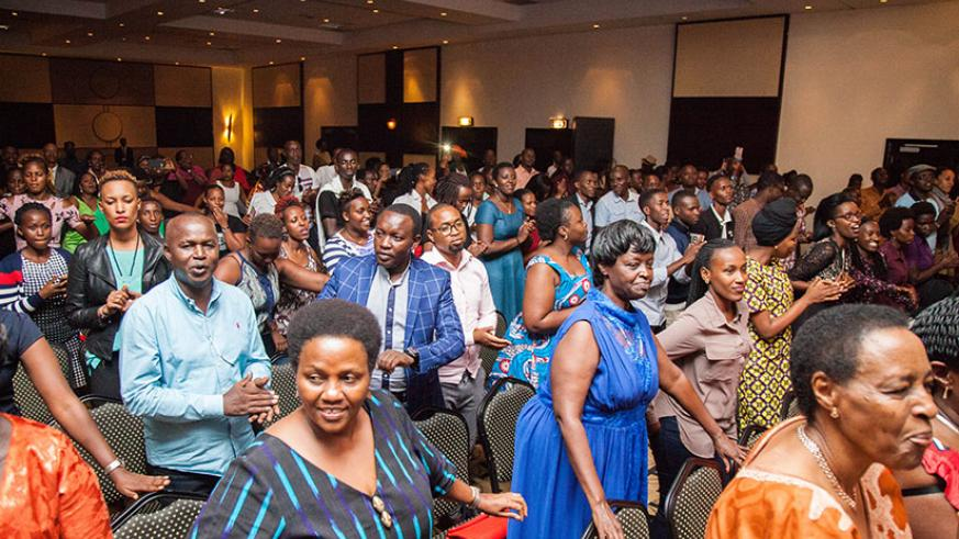 Hundreds flocked Kigali Serena Hotel to celebrate the life of music legend Kamaliza on Saturday evening. / Nadege Imbabazi