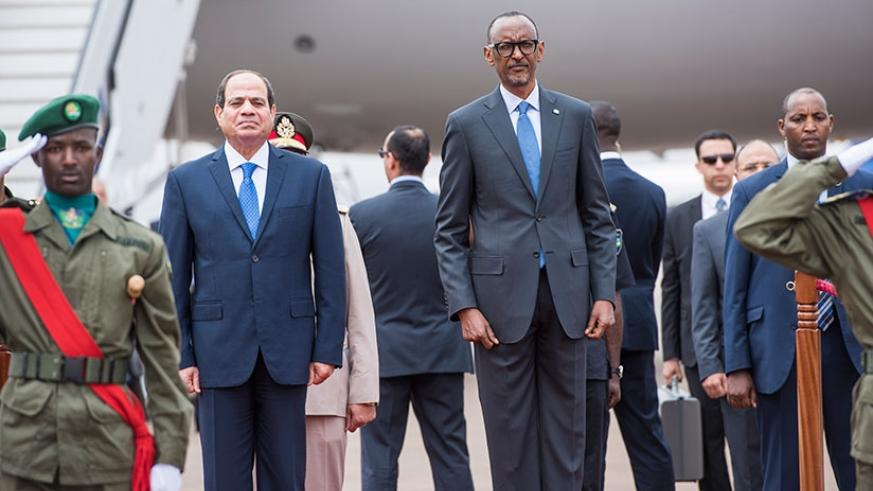 President Paul Kagame and his Egyptian counterpart, President Abdel Fattah al-Sisi at Kigali International Airport, yesterday. The two heads of state held bilateral talks in which ....