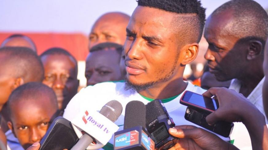 Fabrice Mugheni talking to media. He will lead SC Kiyovu next season. Courtesy