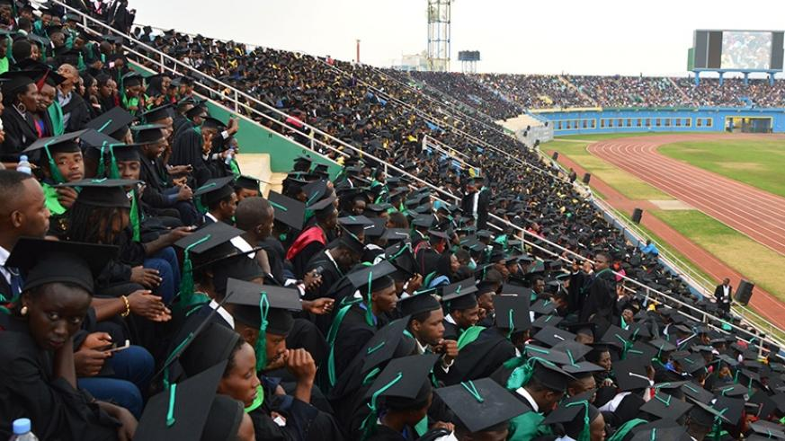 University of Rwanda graduands follow the proceedings of the graduation ceremony at Amahoro National Stadium yesterday. A total of 8,366 students, 3,251 of them women, were conferr....