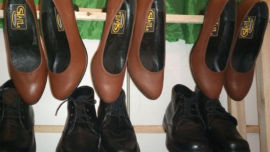 Some of the shoes made by the Gatsibo-based leather products factory displayed at Kigali International Exhibition in Gikondo on Thursday. Emmanuel Ntirenganya.